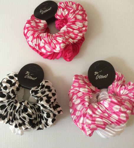 hair scrunchies set of 2 satin 1 spotty polka dot 1 plain new colour choice