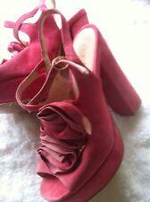 Office Size 5 Pink Suede Platform Sandals