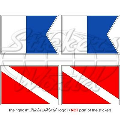 "SCUBA DIVING Flags, Dive Down 50mm (2"") Vinyl Stickers Decals x4"