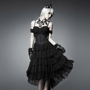 NEW-Punk-Rave-Gothic-Black-Sexy-Multilevel-Dress-ALL-STOCK-IN-AUSTRALIA