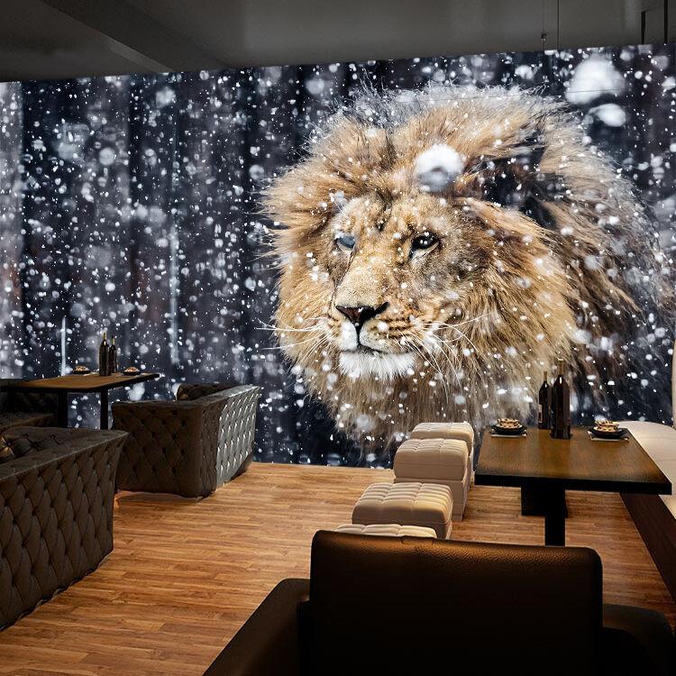 3D Lion Animals Snow 0723 Wall Paper Wall Print Decal Wall AJ WALLPAPER CA