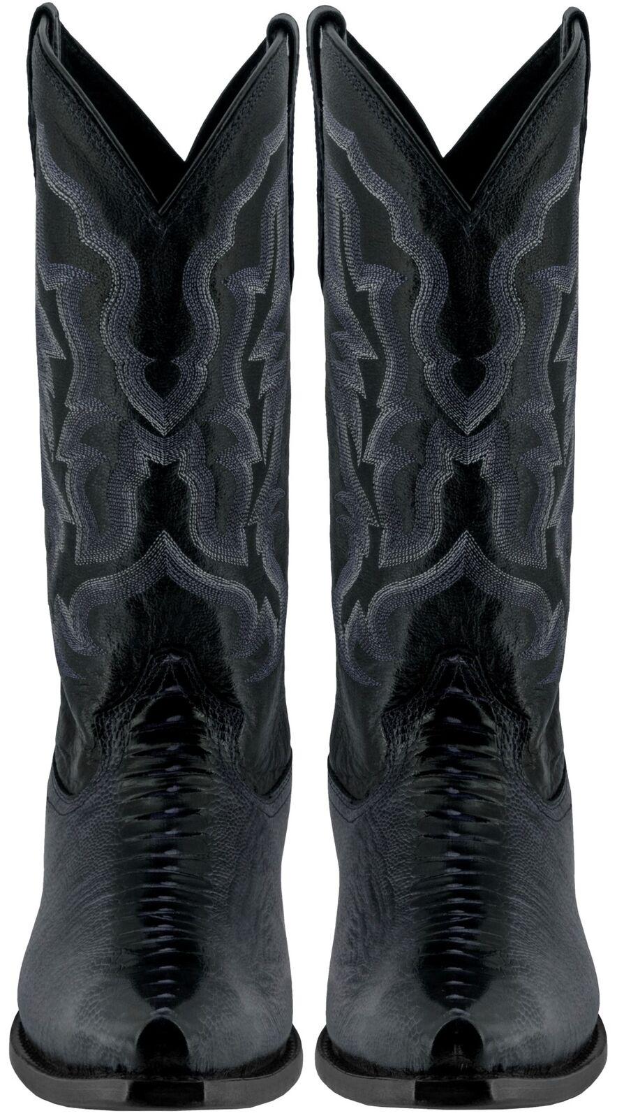 Mens Genuine Genuine Genuine Leather nero Ostrich Leg Print Rodeo Cowboy stivali Pointed Toe 052d1d