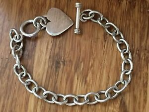 60ebe63bce8 Beautiful Big Solid Plain Heart Charm Chain Bracelet Sterling Silver ...