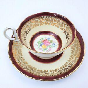 Royal Grafton Tea Cup & Saucer Maroon Floral Gold Gilt Teacup 1940's Bone China