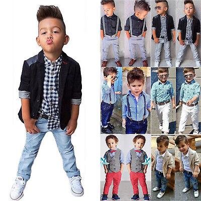 Kinder Baby Jungen Gentleman Langarm Kurzarm Hemd Tops Denim Jeans Hose Outfits