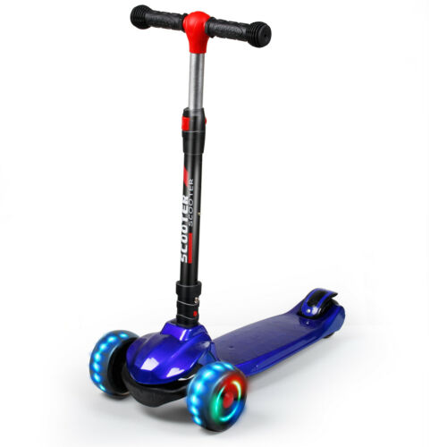 LED Kick Scooter Deluxe 3 Wheel Adjustable Height T-bar Glider For Toddler Kids