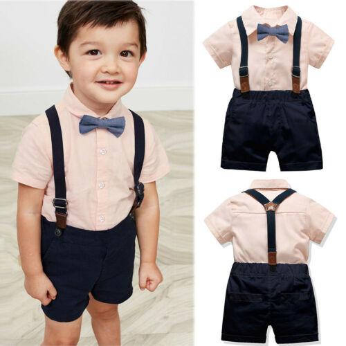 2PC Infant Baby Boy Gentleman Bow Tie T-Shirt Tops+Solid Shorts Overalls Outfits