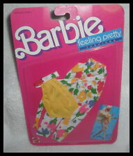 NRFP BARBIE OUTFIT 1988 FEELING PRETTY FASHION  WHITE FLOWER PANTS YELLOW TOP