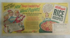 Kellogg's Cereal Ad: Hand Puppets Premium ! From 1950 Size: 7.5 x 15 inches