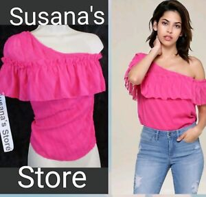 8df9e278b8a NWT bebe Ruffled One Shoulder Top SIZE XL Totally sweet with flirty ...