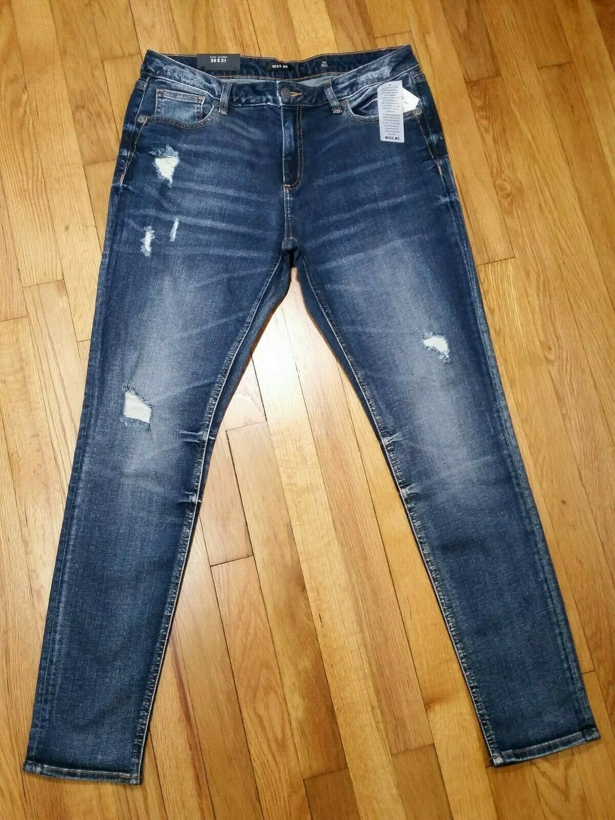 Miss Me Easy Skinny Jeans Distressed Ripped Medium Wash Mid Rise B1002ES7R NWT