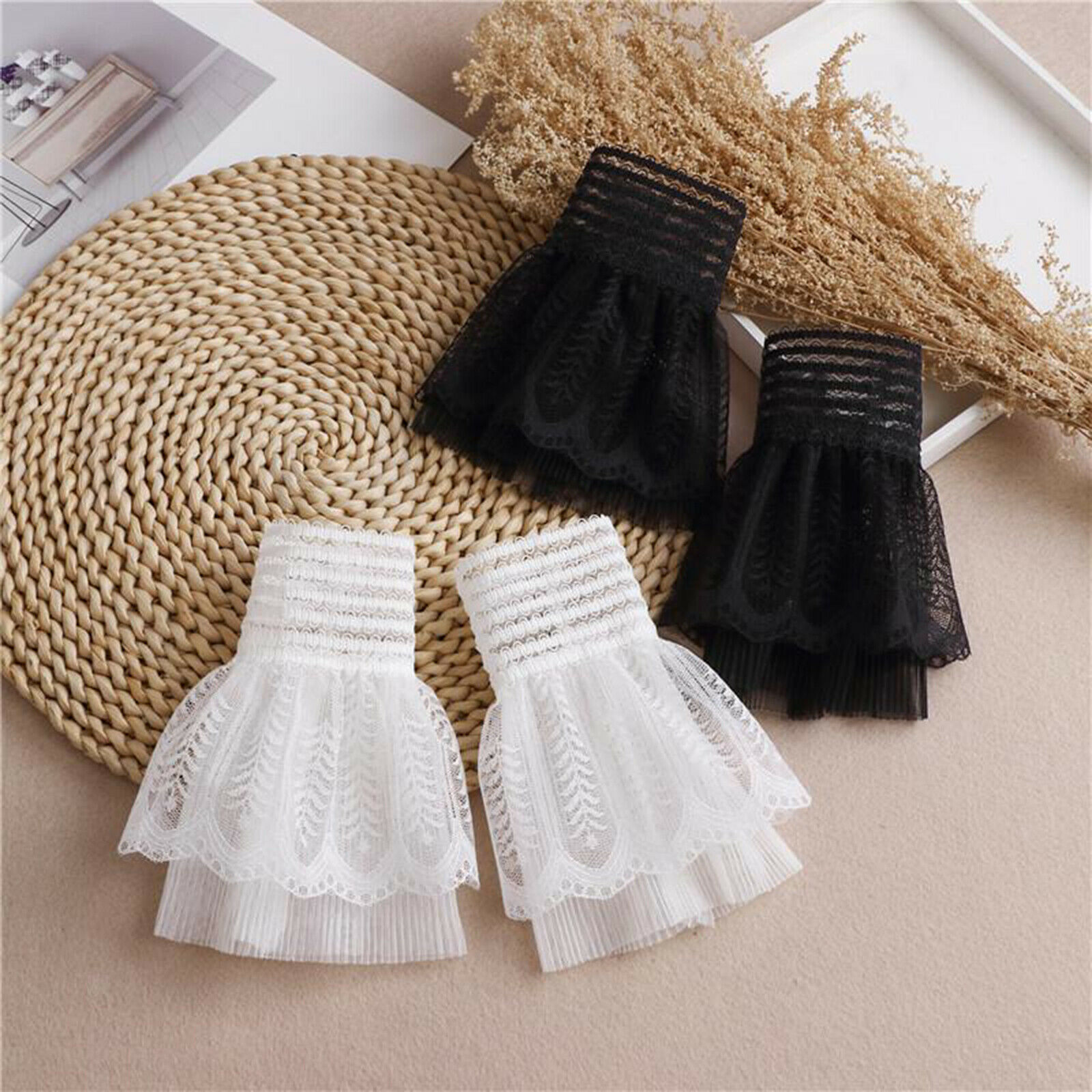 Womens Lace Cuffs Clothing Universal Ruched Fake Sleeves False Wrist Accessory