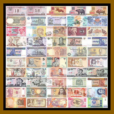 Unc 25 Pcs of Different World Mix Mixed Foreign Banknotes Currency Lot