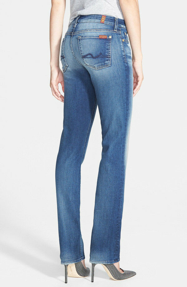 NWT 7 FOR ALL MANKIND Kimmie Contour Straight Leg Jeans SZ 27 Super Grinded bluee