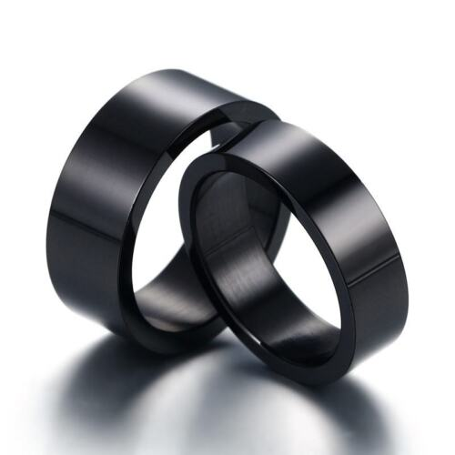 Black Stainless Steel 4mm 6mm Polished Wedding Ring Band Flat Round Free Engrave