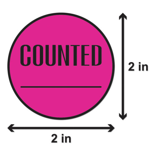"""2/"""" Round, 4PK, Pink Counted Stickers Inventory Control Blank Store Labels"""