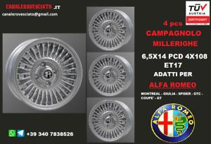 4 Cerchi lega Alfa Romeo Giulia - DUETTO CAMPAGNOLO MILLERIGHE 6,5x14 4x108 14