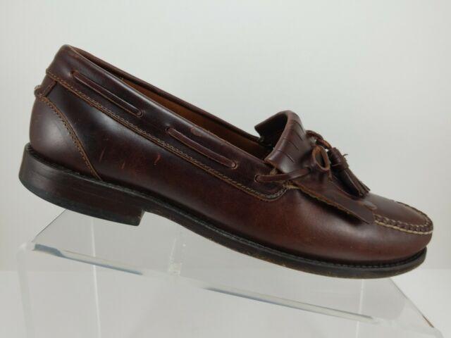 Johnston Murphy Signature Series Brown Leather Kilt Tassel Loafers Mens 11M Mex