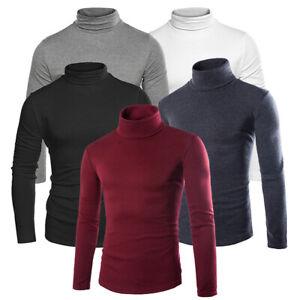 Men-Slim-Warm-Cotton-Sweater-High-Neck-Jumper-Tops-Turtleneck-Winter-Pullover