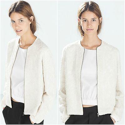 ZARA Ecru Off White Jacket Coat Woman Authentic BNWT RRP £69.99 S 7521240