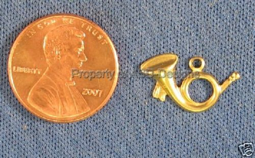 50pc Raw Brass Musical French Hunting Horn Charm 4657
