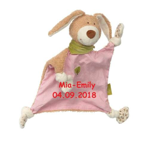 Sigikid Schmusetuch green Hase rosa kariert mit Namen bestickt Schnuffeltuch