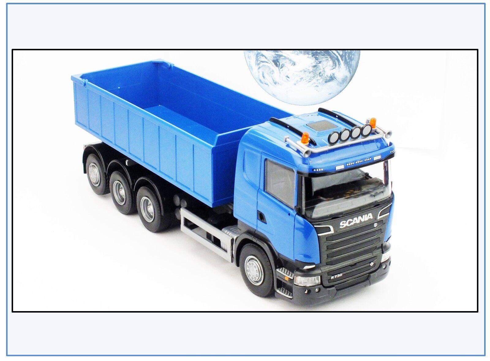 20714 Scania R730 4-Achser mit Abrollmulde, niedrig, blue, EMEK 1 25, NEU&
