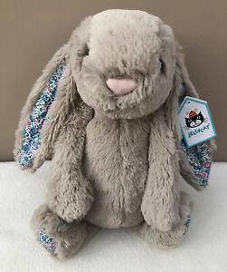 NEW-Jellycat-Medium-Blossom-Beige-Bunny-Rabbit-Soft-Toy-Comforter-Baby-Blue-BNWT