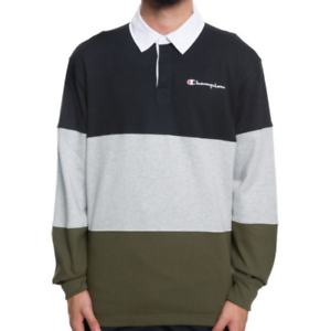 Details about Champion Colorblock Rugby Long Sleeve Polo Shirt Black/Gray/Olive Men's Small