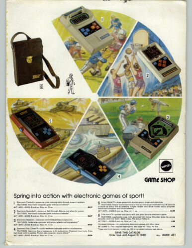 1979 PAPER AD Mattel Game Shop Electronic Sub Chase Tote-tronic Football