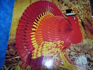 vtg Turkey Thanksgiving  Center Piece American Greetings Honeycomb Decoration