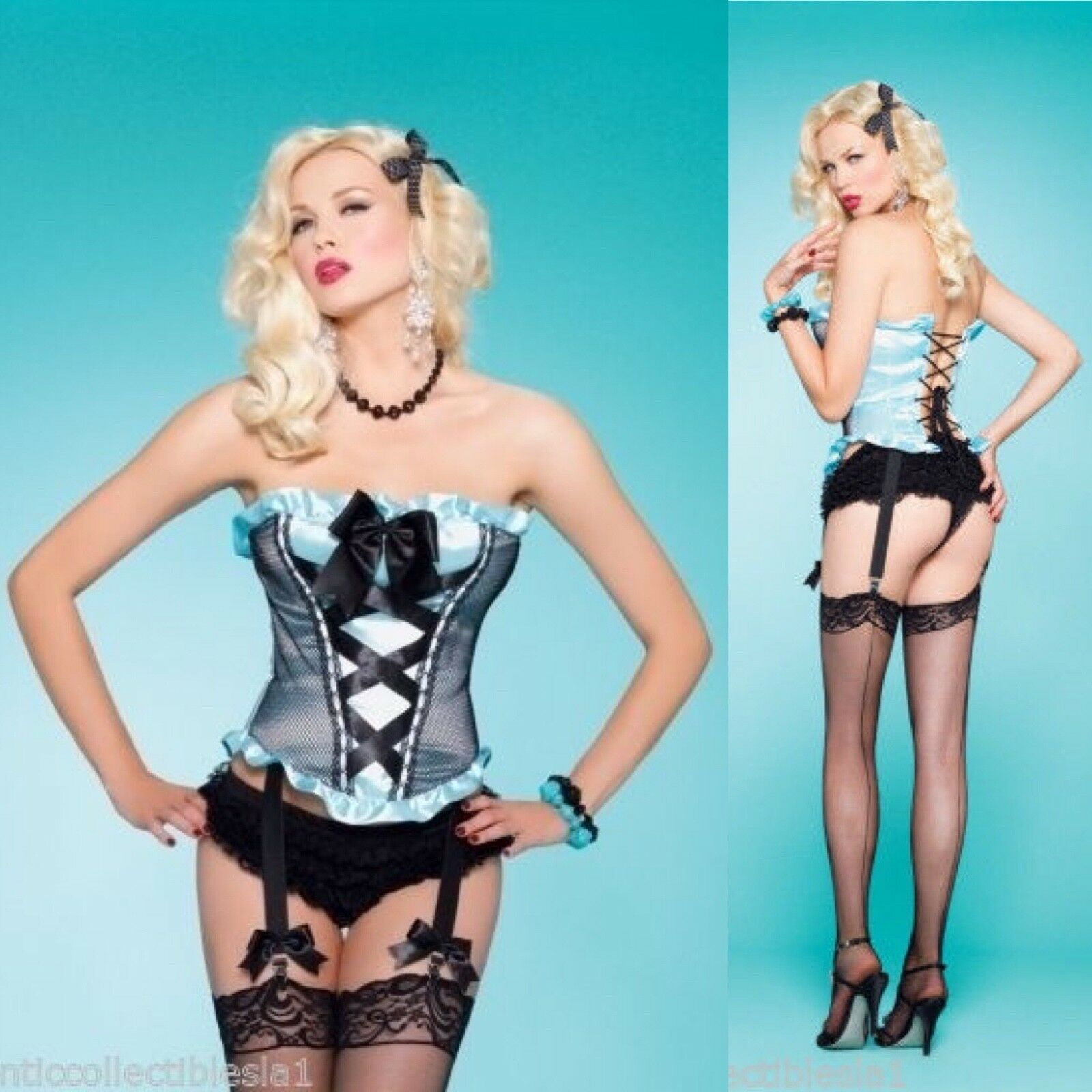 NWT Leg Ave Irina Sz S bluee Corset Garters Sexy MOVIE COSTUME Burlesque Bo Peep