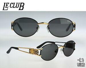 Le-Club-1500-52-NLOR-Vintage-90s-black-amp-gold-oval-sunglasses-mens-amp-women-NOS