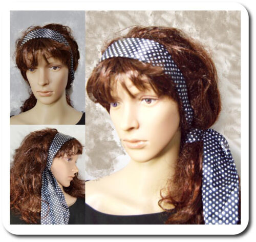 Breiter Haarreif mit Schal Polka Punkt Satin Dot Vintage Haarreifen Schwarz//Weiß