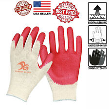 8 Pairs Red Latex Rubber Palm Coated Work Safety Gloves One Size Fits Most
