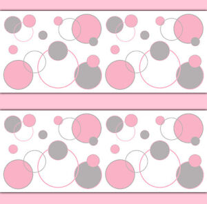 Pink Grey Gray Polka Dot Wallpaper Border Wall Decals Baby