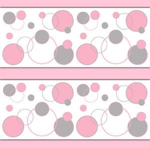 Image Is Loading Pink Grey Gray Polka Dot Wallpaper Border Wall