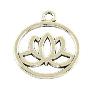 10x tibetan 20mm lotus flower charmpendant antique silver gold image is loading 10x tibetan 20mm lotus flower charm pendant antique mightylinksfo