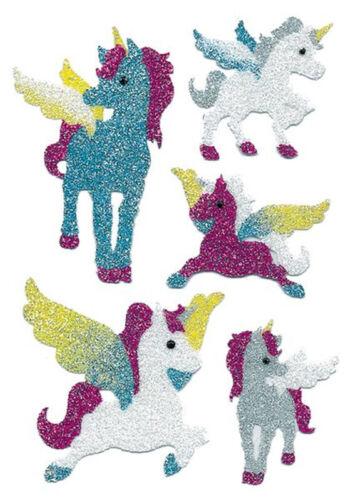 "Sticker /""unicornios/"" Diamond Glittery 5 unicornio pegatinas completamente fastuoso"