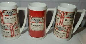 3-Vintage-Budweiser-Beer-Mug-Thermo-Serv-Insulated-Cup-RED-advertising-PLASTIC
