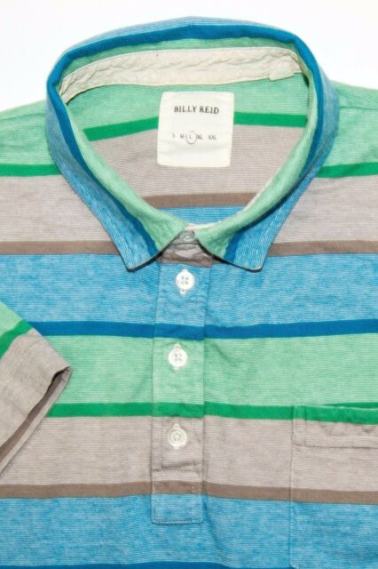 BILLY REID Men's Short Sleeve Polo Shirt Blue Green Red Striped Size Large