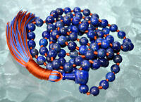 Buddhist Prayer Beads Knotted Natural Blue Lapis Lazuli - Enhances Awareness, In