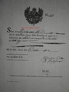 ALESSANDRO VOLTA PAVIA UNIVERSITA' REGNO AUSTRIACO RICERVUTA AUTOGRAFO COPY1700