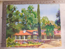 Vtg Art Signed Watercolor by GLEN THOMAS listed Artist / CALIFORNIA SPANISH HOME