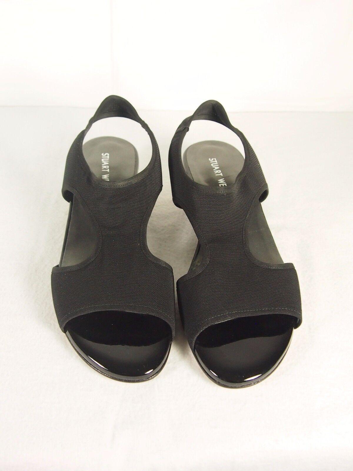 STUART WEITZMAN Giver Demi Stretch Sandal Black Sz 6.5 Reg 355.00