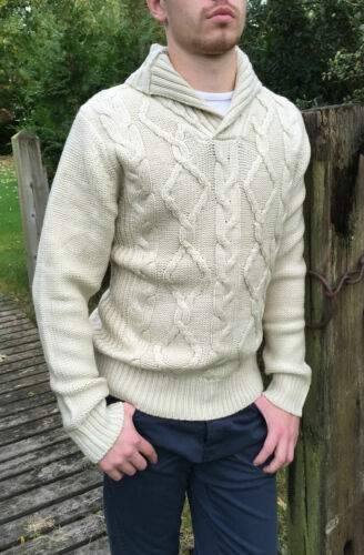 Mens Cable Knit High St Fashion Jumper Knitwear Zara Cow Neck Cream Beige Stone