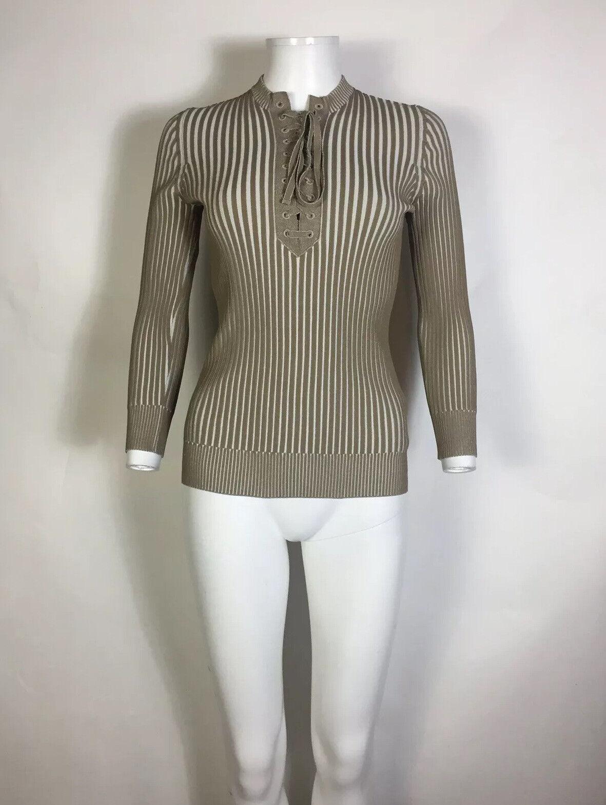 Rare Vtg Gucci Beige Knit Lace Up Top M - image 2
