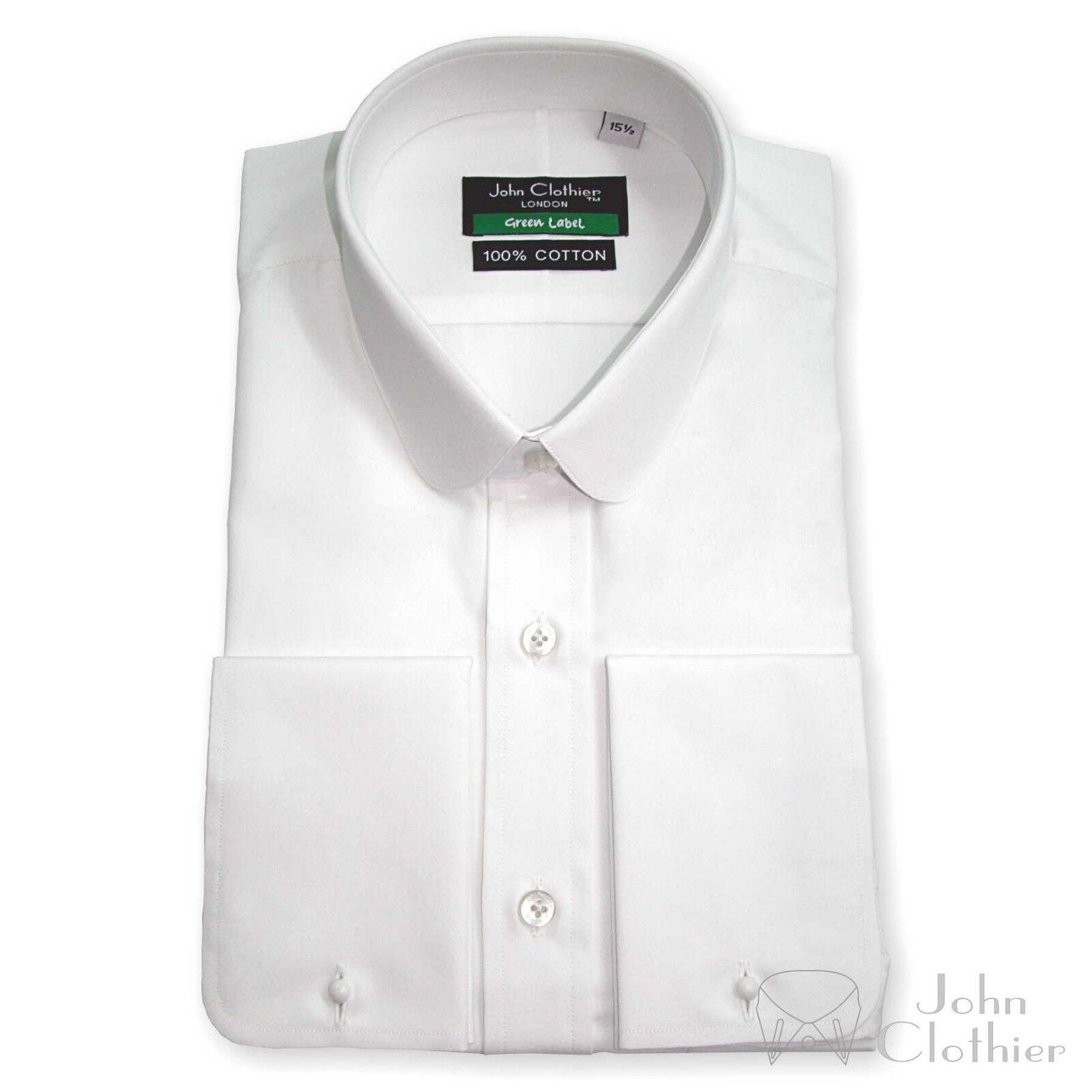 Peaky Blinder Cotone Bianco CLUB Penny Colletto Camicia Uomo collare rotondo per Gents