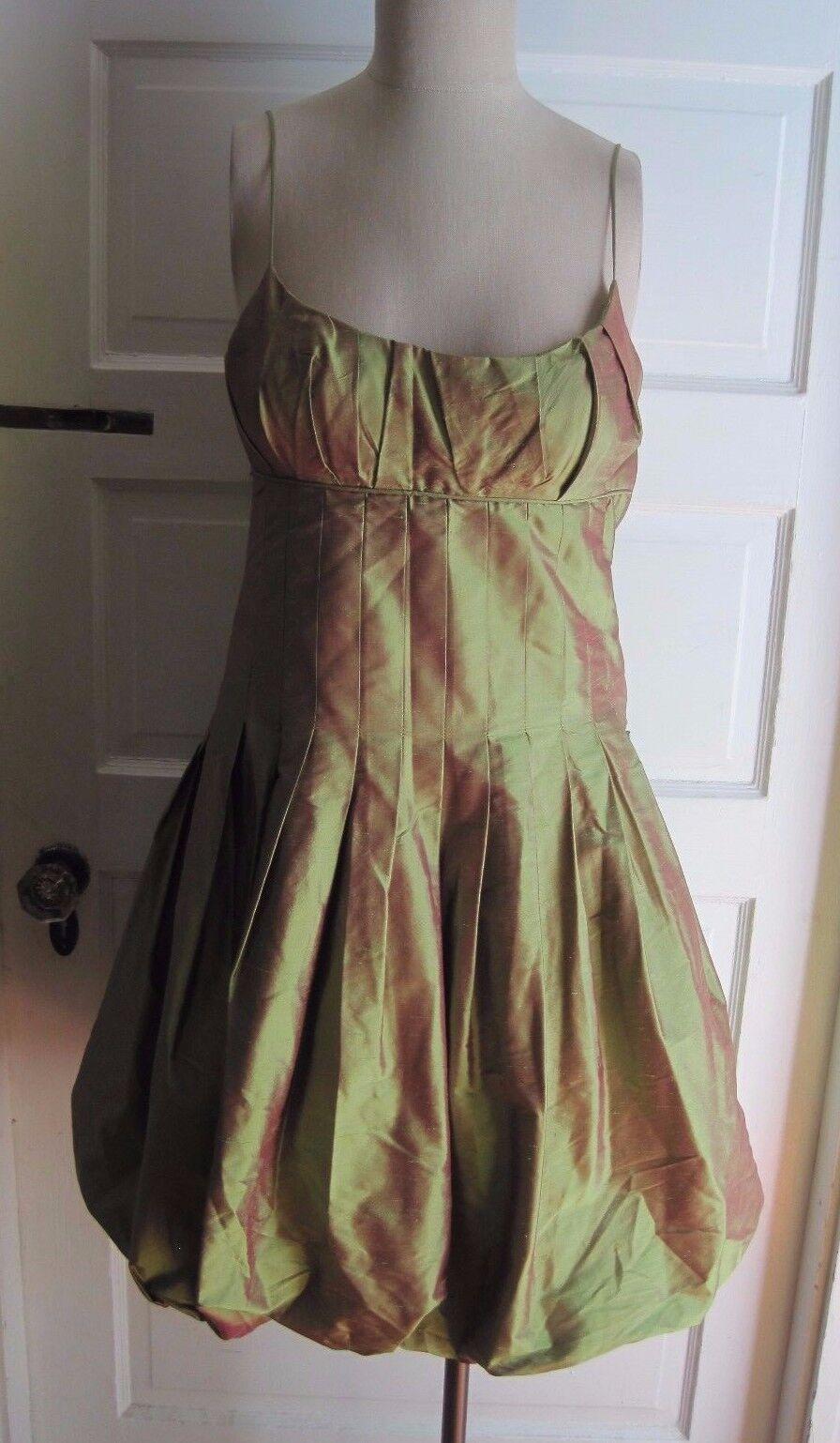 Nicole Miler New York City 100% Seide Metallisch Schimmernd Ballonkleid Damen 2