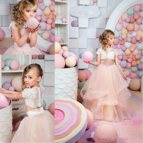 Formal Kids Two Piece Champagne Flower Girl Dress Wedding Party Princess Gowns
